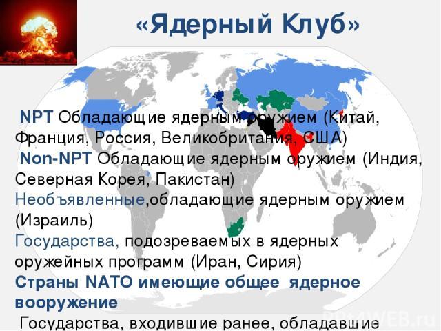 «Ядерный Клуб» NPT Обладающие ядерным оружием (Китай, Франция, Россия, Великобритания, США) Non-NPT Обладающие ядерным оружием (Индия, Северная Корея, Пакистан) Необъявленные,обладающие ядерным оружием (Израиль) Государства, подозреваемых в ядерны…