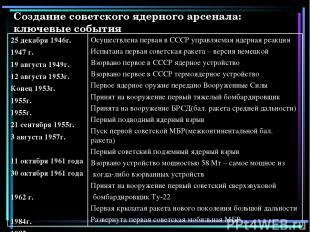 Создание советского ядерного арсенала: ключевые события 25 декабря 1946г. 1947 г