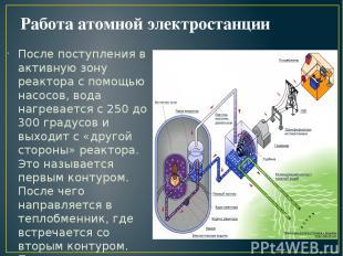 Работа атомной электростанции После поступления в активную зону реактора с помощ