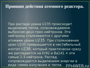 Принцип действия атомного реактора. При распаде урана U235 происходит выделение