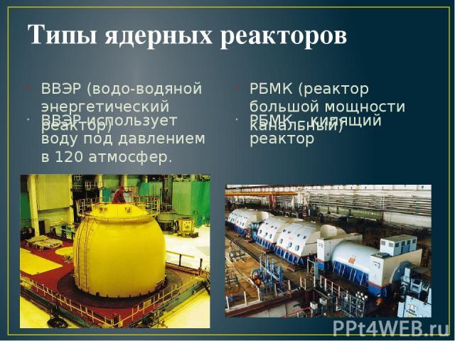 Типы ядерных реакторов ВВЭР (водо-водяной энергетический реактор) ВВЭР использует воду под давлением в 120 атмосфер. РБМК (реактор большой мощности канальный) РБМК – кипящий реактор
