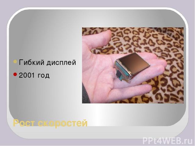 Рост скоростей Гибкий дисплей 2001 год
