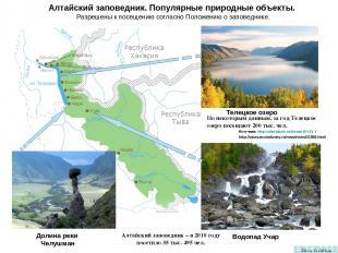 Алтайский заповедник. Популярные природные объекты. Разрешены к посещению соглас