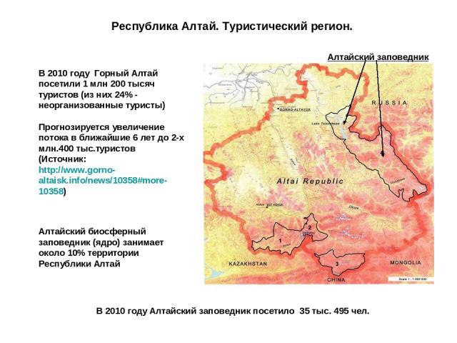 Республика Алтай. Туристический регион. Алтайский биосферный заповедник (ядро) занимает около 10% территории Республики Алтай В 2010 году Горный Алтай посетили 1 млн 200 тысяч туристов (из них 24% - неорганизованные туристы) Прогнозируется увеличени…
