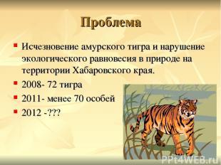 Проблема Исчезновение амурского тигра и нарушение экологического равновесия в пр