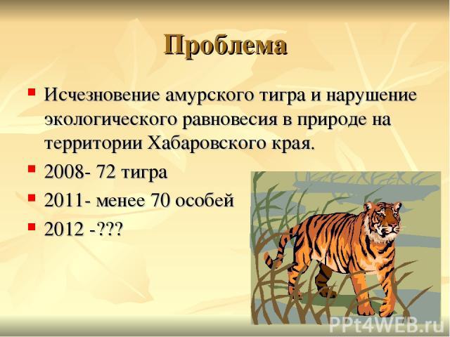 Проблема Исчезновение амурского тигра и нарушение экологического равновесия в природе на территории Хабаровского края. 2008- 72 тигра 2011- менее 70 особей 2012 -???