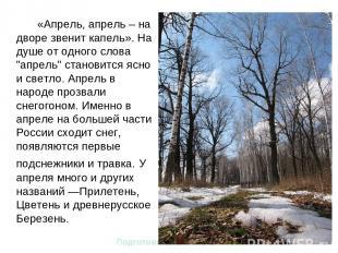 """«Апрель, апрель – на дворе звенит капель». На душе от одного слова """"апрель"""" стан"""