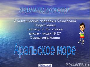 Экологические проблемы Казахстана Подготовила ученица 2 «В» класса школы- лицея