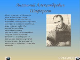 Анатолий Александрович Шафорост 30 лет трудится в МТМ колхоза «Красный Октябрь»