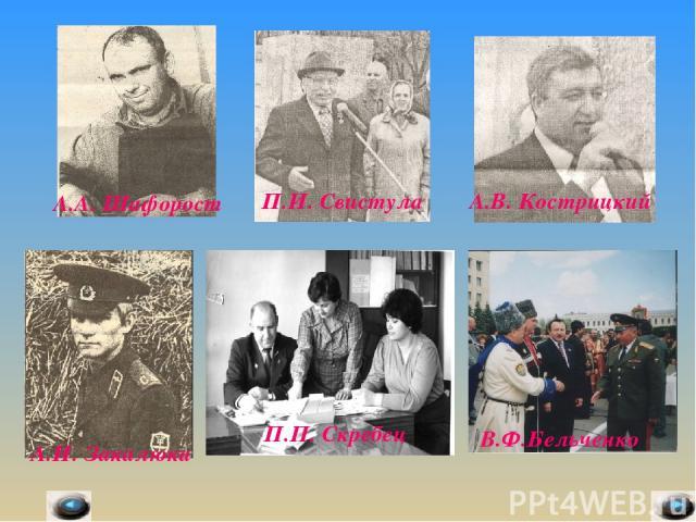 А.А. Шафорост П.И. Свистула А.В. Кострицкий А.И. Закалюка П.П. Скребец В.Ф.Бельченко