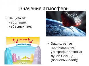 Значение атмосферы Защита от небольших небесных тел; Защищает от проникновения у