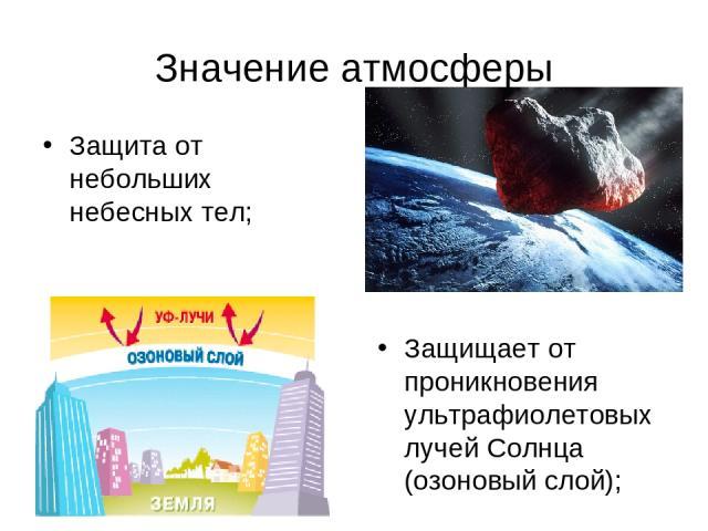 Значение атмосферы Защита от небольших небесных тел; Защищает от проникновения ультрафиолетовых лучей Солнца (озоновый слой);