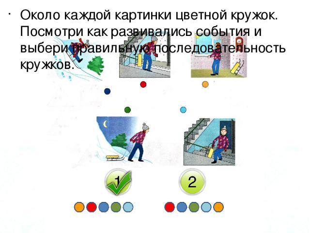 Около каждой картинки цветной кружок. Посмотри как развивались события и выбери правильную последовательность кружков.