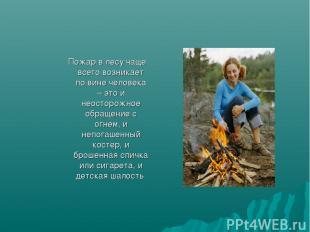 Пожар в лесу чаще всего возникает по вине человека – это и неосторожное обращени