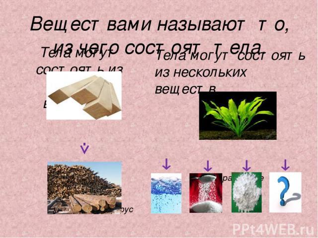 Веществами называют то, из чего состоят тела. Тела могут состоять из одного вещества. Деревянный брус древесина Тела могут состоять из нескольких веществ. растение вода сахар крахмал др.вещества