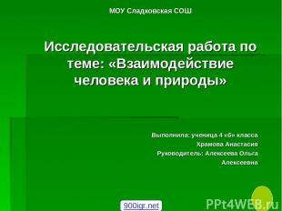 МОУ Сладковская СОШ Исследовательская работа по теме: «Взаимодействие человека и