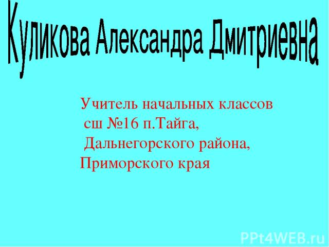 Учитель начальных классов сш №16 п.Тайга, Дальнегорского района, Приморского края