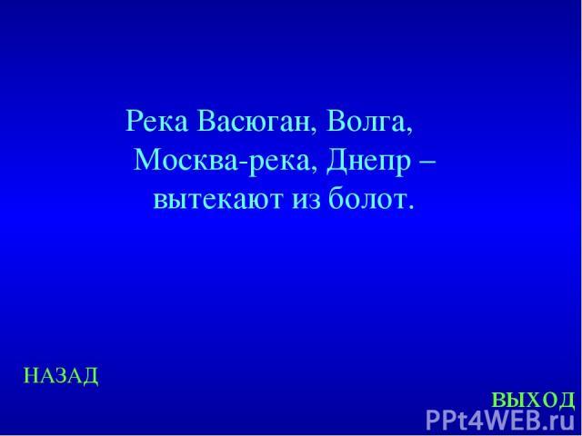 НАЗАД выход Река Васюган, Волга, Москва-река, Днепр – вытекают из болот.