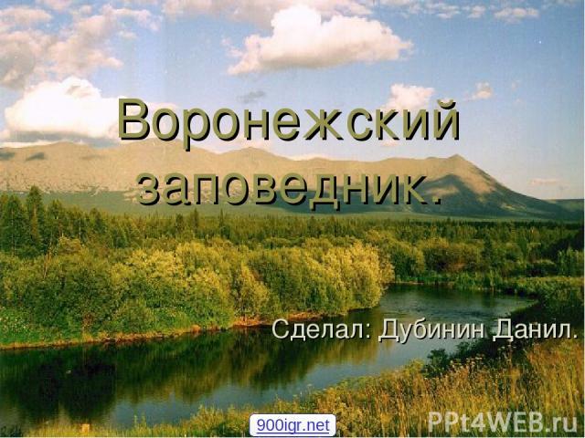 Воронежский заповедник. Сделал: Дубинин Данил. 900igr.net