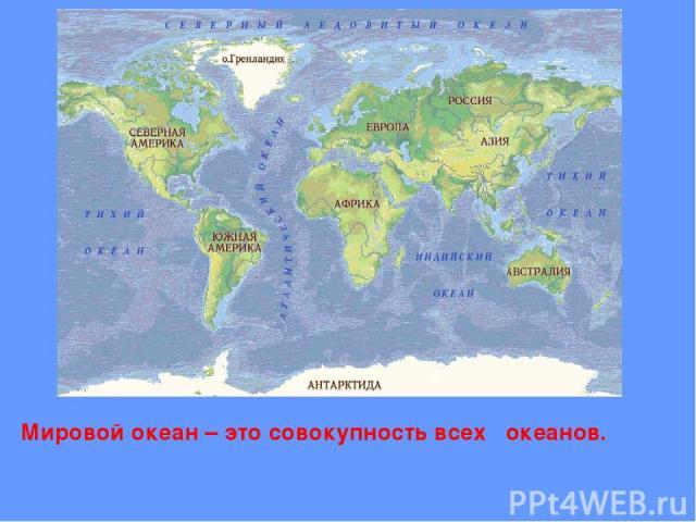 Мировой океан – это совокупность всех океанов.