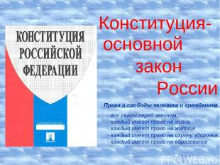 Конституция- основной закон России Права и свободы человека и гражданина - все р