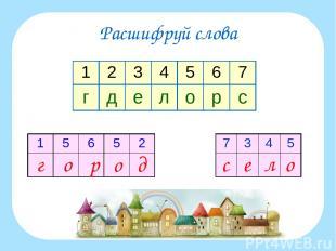 Расшифруй слова 1 2 3 4 5 6 7 г д е л о р с 1 5 6 5 2 7 3 4 5