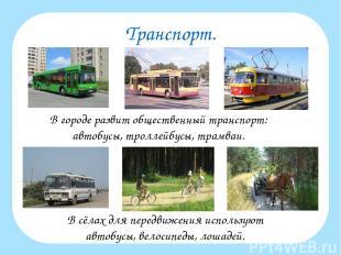 Транспорт. В городе развит общественный транспорт: автобусы, троллейбусы, трамва