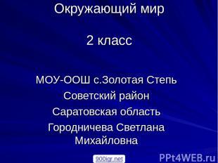 Окружающий мир 2 класс МОУ-ООШ с.Золотая Степь Советский район Саратовская облас