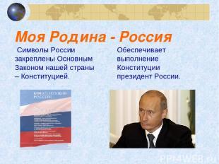 Моя Родина - Россия Символы России закреплены Основным Законом нашей страны – Ко