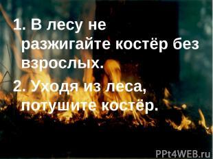 1. В лесу не разжигайте костёр без взрослых. 2. Уходя из леса, потушите костёр.