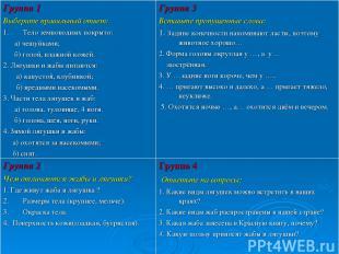Группа 1 Выберите правильный ответ: Тело земноводных покрыто: а) чешуйками; б) г