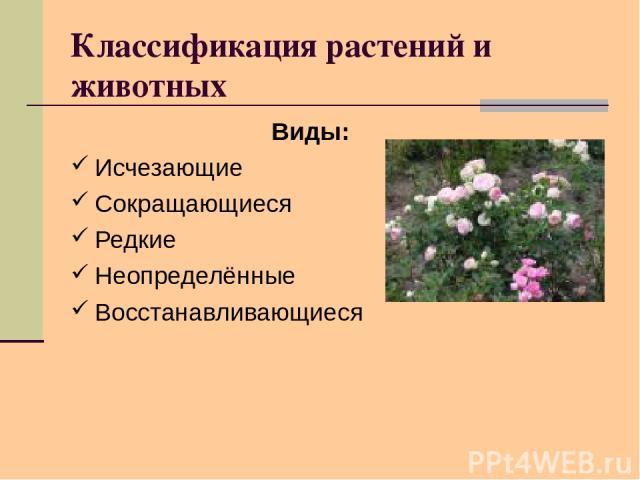 Классификация растений и животных Виды: Исчезающие Сокращающиеся Редкие Неопределённые Восстанавливающиеся