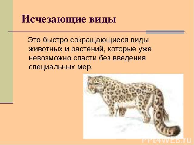 Исчезающие виды Это быстро сокращающиеся виды животных и растений, которые уже невозможно спасти без введения специальных мер.