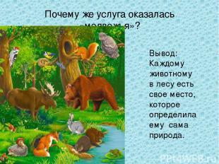 Почему же услуга оказалась «медвежья»? Вывод: Каждому животному в лесу есть свое