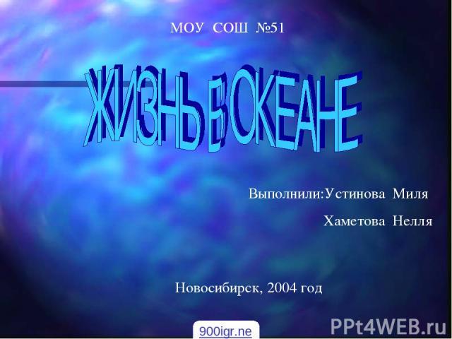 МОУ СОШ №51 Выполнили:Устинова Миля Хаметова Нелля Новосибирск, 2004 год 900igr.net