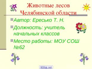 Животные лесов Челябинской области Автор: Ересько Т. Н. Должность: учитель начал