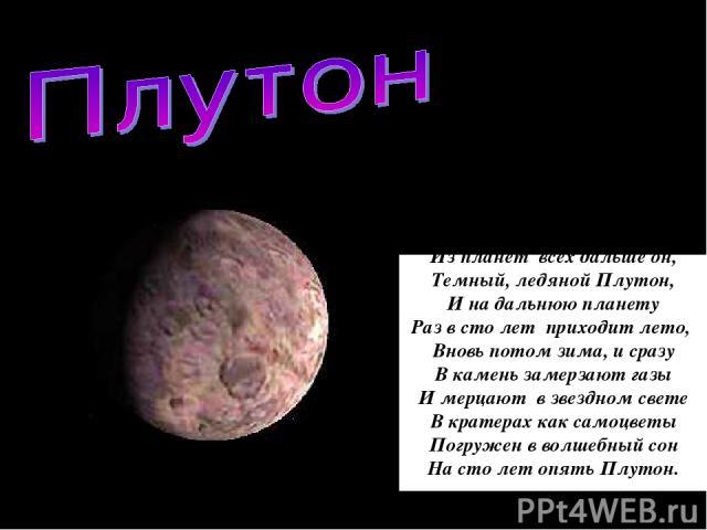 Из планет всех дальше он, Темный, ледяной Плутон, И на дальнюю планету Раз в сто лет приходит лето, Вновь потом зима, и сразу В камень замерзают газы И мерцают в звездном свете В кратерах как самоцветы Погружен в волшебный сон На сто лет опять Плутон.