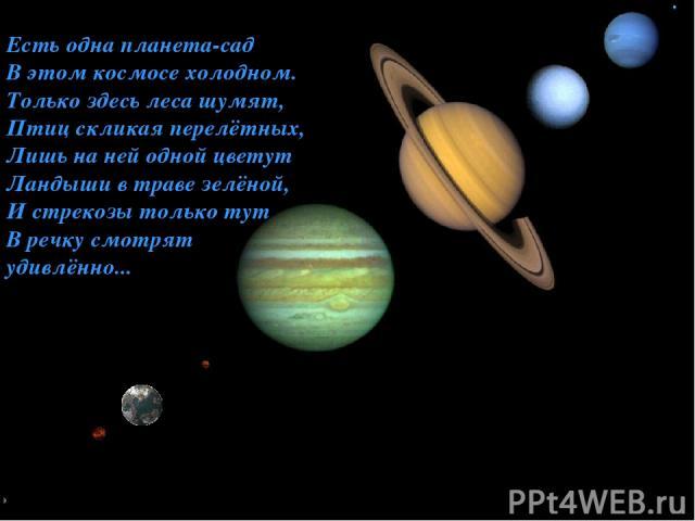 Относительные размеры планет Есть одна планета-сад В этом космосе холодном. Только здесь леса шумят, Птиц скликая перелётных, Лишь на ней одной цветут Ландыши в траве зелёной, И стрекозы только тут В речку смотрят удивлённо...