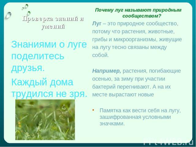 Проверка знаний и умений Почему луг называют природным сообществом? Луг – это природное сообщество, потому что растения, животные, грибы и микроорганизмы, живущие на лугу тесно связаны между собой. Например, растения, погибающие осенью, за зиму при …