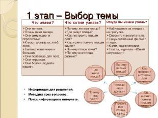 1 этап – Выбор темы Информация для родителей: Методика трех вопросов, Поиск инфо