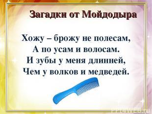 Загадки от Мойдодыра Хожу – брожу не полесам, А по усам и волосам. И зубы у меня