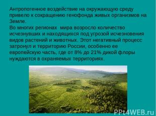 Антропогенное воздействие на окружающую среду привело к сокращению генофонда жив