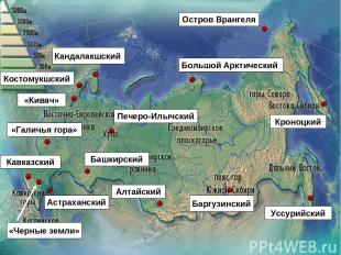 «Кивач» «Галичья гора» Кавказский Башкирский Астраханский Костомукшский Кандалак