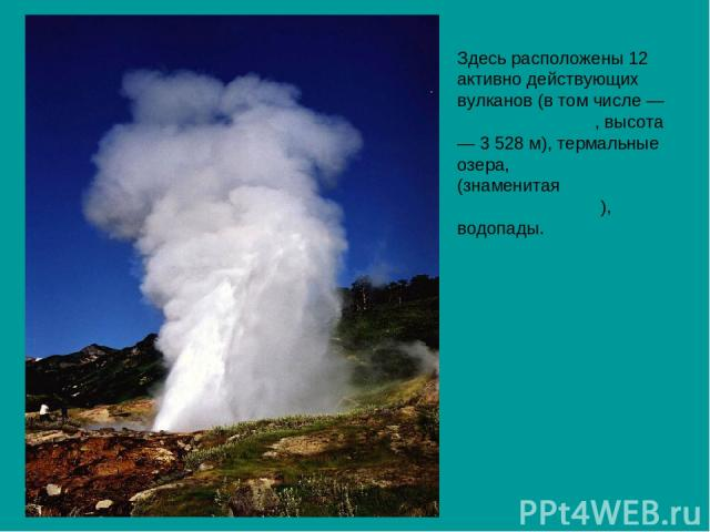 Здесь расположены 12 активно действующих вулканов (в том числе — Кроноцкая сопка, высота — 3528 м), термальные озера, гейзеры (знаменитая Долина Гейзеров), водопады.