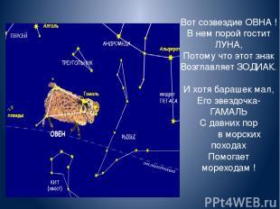 Вот созвездие ОВНА ! В нем порой гостит ЛУНА, Потому что этот знак Возглавляет З
