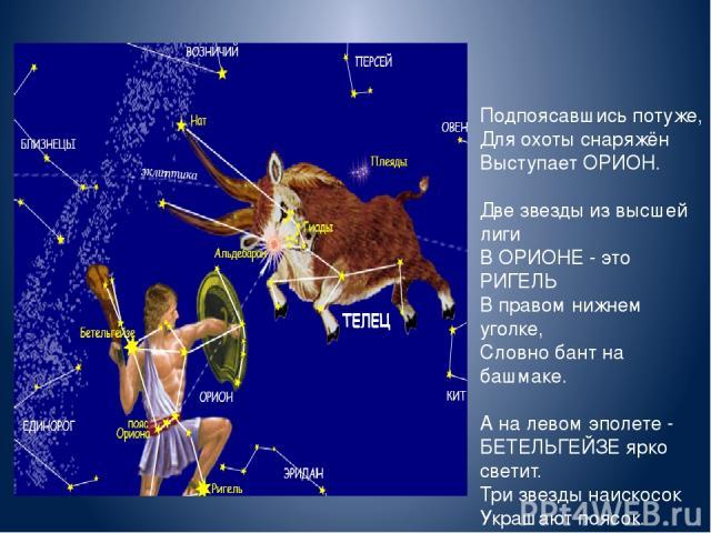 Подпоясавшись Подпоясавшись потуже, Для охоты снаряжён Выступает ОРИОН. Две звезды из высшей лиги В ОРИОНЕ - это РИГЕЛЬ В правом нижнем уголке, Словно бант на башмаке. А на левом эполете - БЕТЕЛЬГЕЙЗЕ ярко светит. Три звезды наискосок Украшают поясок.