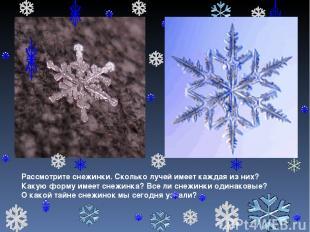 Рассмотрите снежинки. Сколько лучей имеет каждая из них? Какую форму имеет снежи