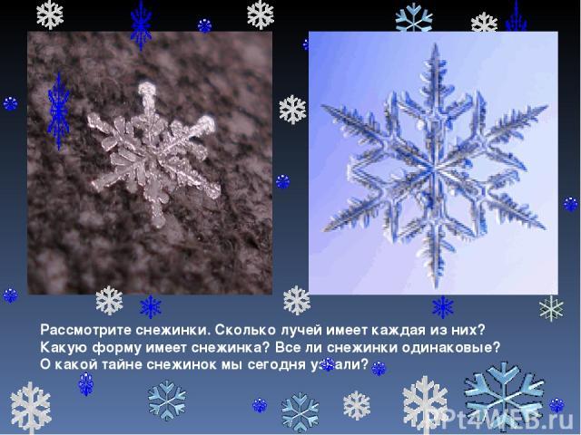 Рассмотрите снежинки. Сколько лучей имеет каждая из них? Какую форму имеет снежинка? Все ли снежинки одинаковые? О какой тайне снежинок мы сегодня узнали?