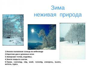 Зима неживая природа 1.Низкое положение солнца на небосводе 2.Короткие дни и дли