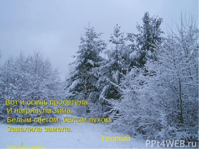 Вот и осень пролетела И нагрянула зима, Белым снегом, белым пухом Завалила замела. Георгий Нарышкин
